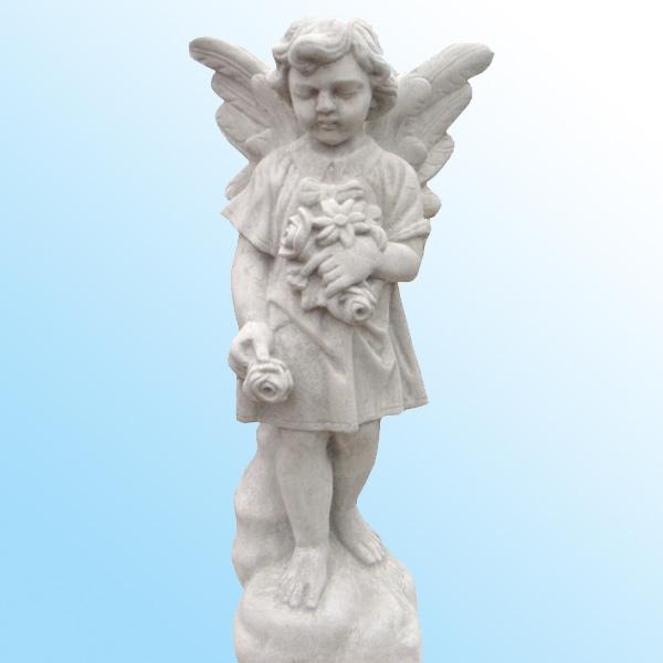 イタリア製石像:天使像:花を持つ天使 画像をクリックすると拡大します 商品名:イタリア製石像:天