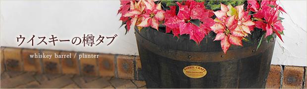 大型プランター:ウイスキーの樽タブ