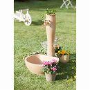 アンポッシュ:陶器風水栓柱セット(水栓柱・ガーデンパン・蛇口):テラコッタ色