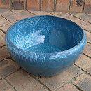 陶器水鉢・青LF1223小(直径38cm)(穴無し)
