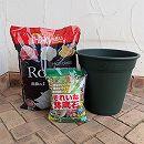 バラ栽培用資材セット:ロゼアポット380型グリーン・元肥入バラの土・鉢底石
