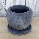 マルモボウル黒(直径14cm)・皿付