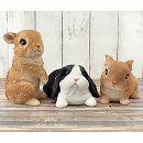 アニマルオーナメント:3種セット/チビウサギ(立ち・座り)・たれ耳ウサギ