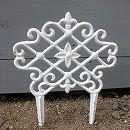 鉄鋳物のガーデンフェンス白(花)85220