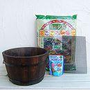 草花用 焼杉プランター:浅丸(中) と土と肥料のセット