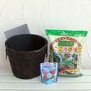 草花用:焼杉プランター:深丸(小)と土と肥料のセット