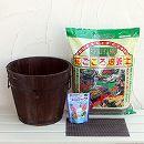 草花用:焼杉プランター:深丸(中)土と肥料のセット