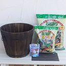 草花用:焼杉プランター:深丸(大)と土と肥料のセット