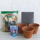 草花用 バッサム17cm(5号)3個と土と肥料のセット