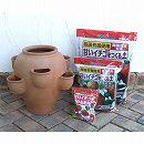 いちご栽培用ストロベリーポットL高さ39cm(6ポケット)と土・肥料のセット