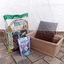 草花用 トスカーナ:プレーンプランター ホワイト32cmと土と肥料のセット