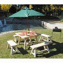 [送料無料]カナディアンログファニチャー:スクエアパラソルテーブルとストレートベンチ4台セット