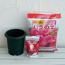 バラ用の鉢と用土と肥料のセット(バラ鉢6号)