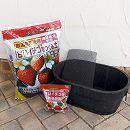 いちご用 焼杉プランター:小判(中)1個と土と肥料のセット