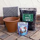 草花用 バッサム21cm(7号)と土と肥料のセット