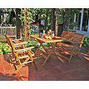 [送料無料]アカシア材のガーデン家具:スクエアテーブル・アームチェア・ベンチのセット