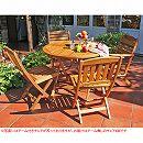 [送料無料]アカシア材のガーデン家具:ラウンドテーブル100とフォールディングチェア4脚のセット