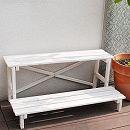鉢棚:2ウェイフラワースタンド2段 ホワイト(幅80cm、奥行き40cm、高さ35.5cm)