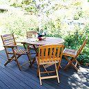 [送料無料]アカシア材のガーデン家具:フォールディングラウンドテーブル100&チェア2種4脚セット