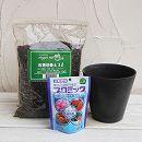 草花用 アートストーン ラウンド ブラック 直径17cmと土と肥料のセット