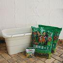 野菜用うるオン プランター65型アイボリーと土と肥料のセット