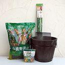 トマト用 焼杉プランター:深丸(中)と土と肥料と支柱のセット